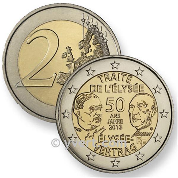 2 euros comm moratifs 2013 france traite de l elysee yvert et tellier philat lie et. Black Bedroom Furniture Sets. Home Design Ideas