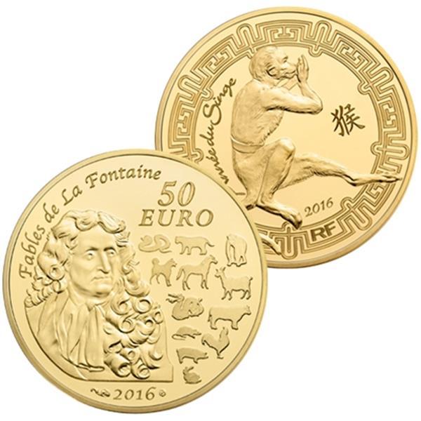 50 euros or annee du singe 2016 yvert et tellier philat lie et numismatique. Black Bedroom Furniture Sets. Home Design Ideas