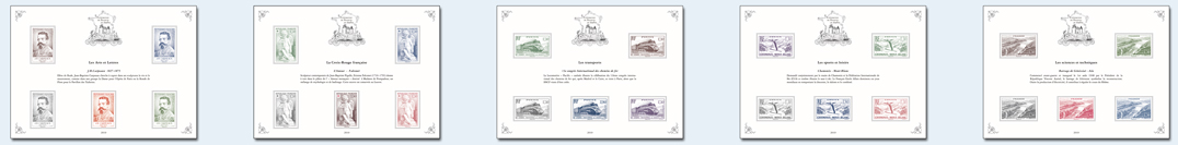 Les blocs de la collection Patrimoine de France en Timbres
